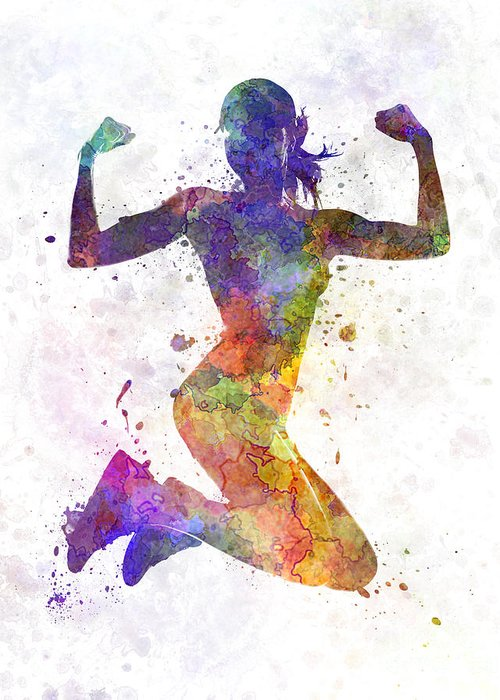Jogging Paintings Greeting Cards