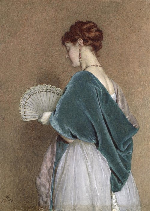 Woman Greeting Card featuring the photograph Woman With A Fan by John Dawson Watson