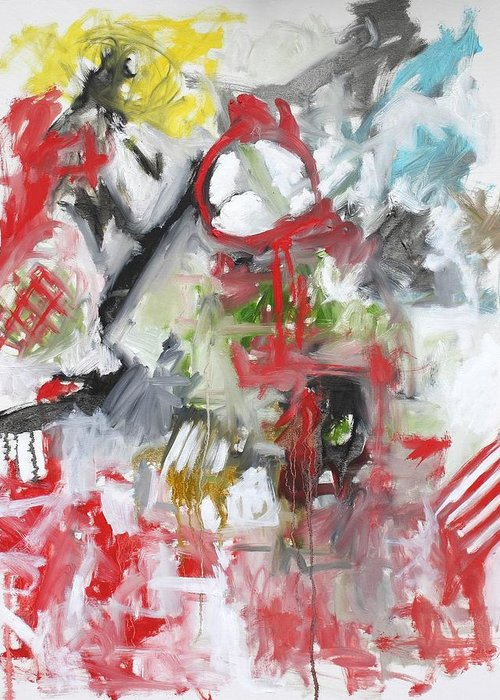 Abstract Greeting Card featuring the painting Woman with a Red Comb by Michael Henderson