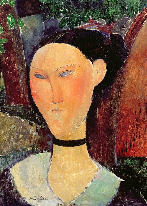 Woman Greeting Card featuring the painting Woman With A Velvet Neckband by Amedeo Modigliani