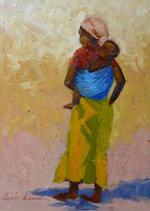 Figures Greeting Card featuring the painting Woman With Baby by Yvonne Ankerman