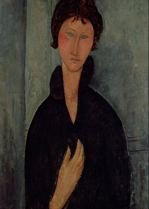 Woman Greeting Card featuring the painting Woman With Blue Eyes by Amedeo Modigliani