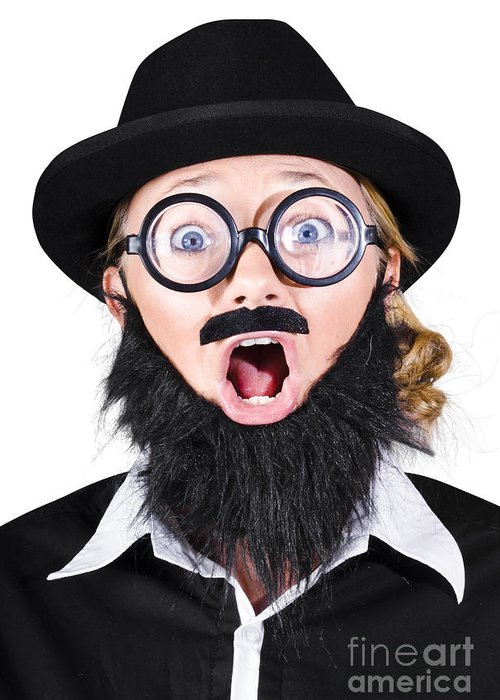 Humor Greeting Card featuring the photograph Woman With Fake Beard And Mustache Screaming by Jorgo Photography - Wall Art Gallery