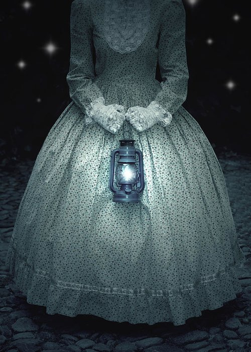 Female Greeting Card featuring the photograph Woman With Lantern by Joana Kruse
