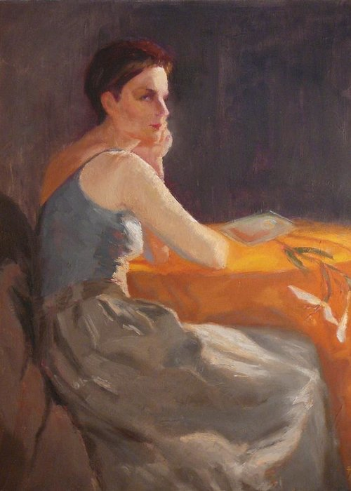 Young Woman Dressed In Modern Outfit Seated At A Table On Which A Single Stem Of White Lily Lies. Greeting Card featuring the painting Sold Woman With Lily by Irena Jablonski