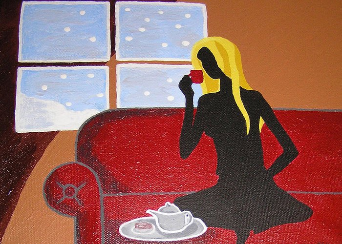Woman Greeting Card featuring the painting Woman With Tea by Ricklene Wren