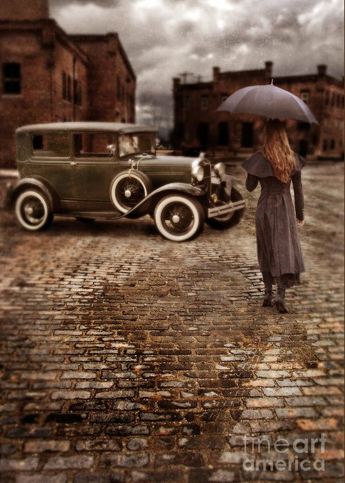 Woman Greeting Card featuring the photograph Woman With Umbrella By Vintage Car by Jill Battaglia
