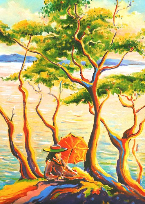 Landscape Greeting Card featuring the painting Woman With Umbrella by Hans Doller