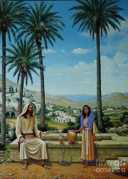 Jesus Greeting Card featuring the painting Women At The Well by Michael Nowak
