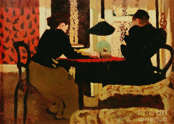 Women Greeting Card featuring the painting Women By Lamplight by vVuillard