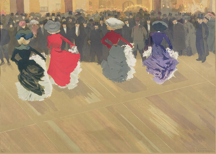 Women Dancing The Can-can (colour Litho) By Abel-truchet (1857-1918) Greeting Card featuring the painting Women Dancing The Can Can by Abel Truchet