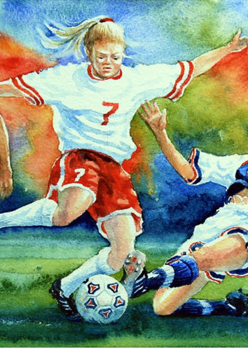 Sports Art Greeting Card featuring the painting Women by Hanne Lore Koehler