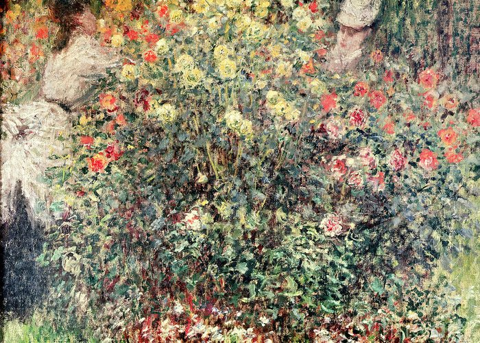 Women In The Flowers Greeting Card featuring the painting Women In The Flowers by Claude Monet