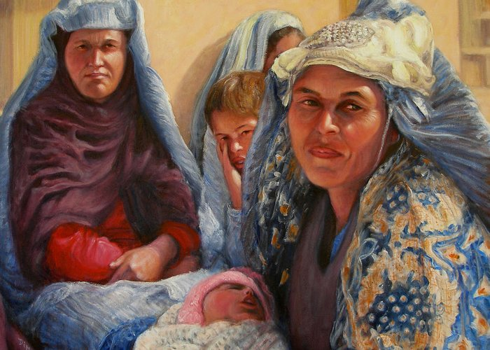 Realism Greeting Card featuring the painting Women Of War by Donelli DiMaria