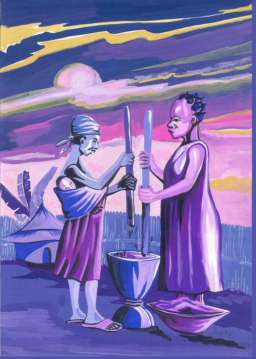 African Art Greeting Card featuring the painting Women Pounding Cassava by Emmanuel Baliyanga
