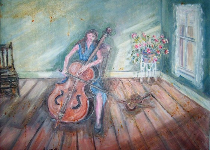 Portrait Greeting Card featuring the painting Women With Cello by Joseph Sandora Jr