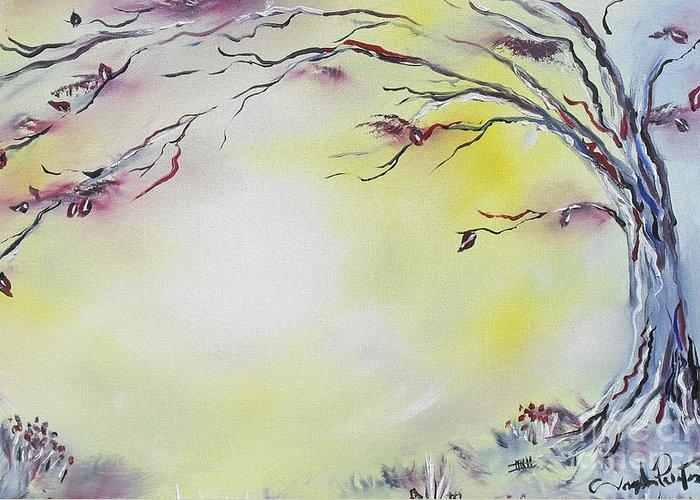 Tree Art Greeting Card featuring the painting Wonderland Bliss by Joseph Palotas