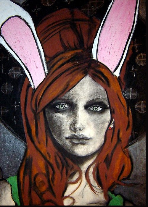 Angel Greeting Card featuring the drawing Wonderland Girls - Bunny Ears Close Up by Chrissa Arazny- Nordquist