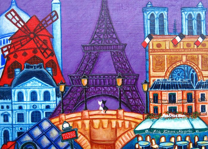 Paris Greeting Card featuring the painting Wonders of Paris by Lisa Lorenz