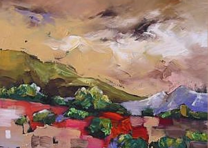 Landscape Greeting Card featuring the painting Wondrous by Linda Monfort