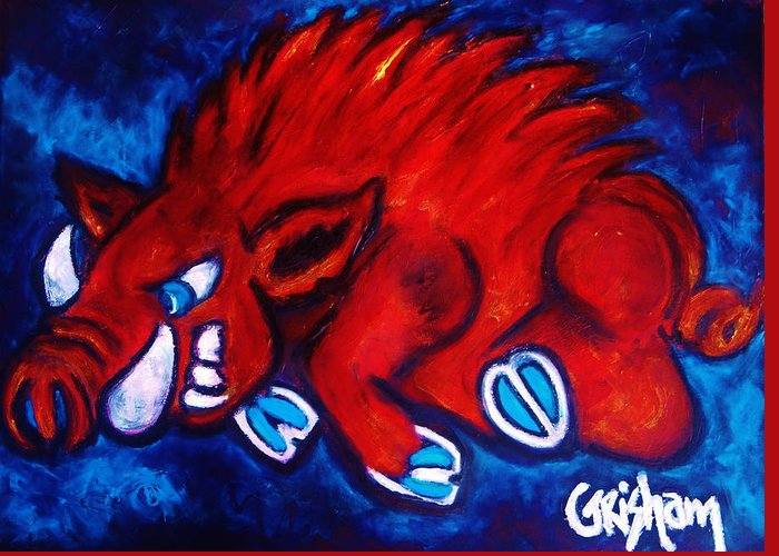 Arkansas Greeting Card featuring the painting Woo Pig by Laura Grisham