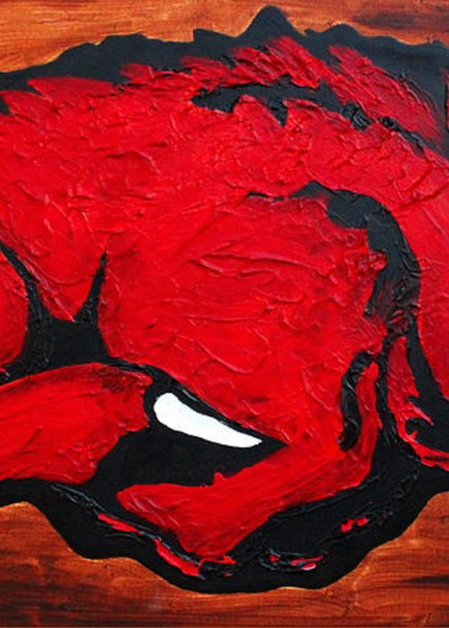Arkansas Razorbacks Greeting Card featuring the painting Woo Pig Sooie by Laura Grisham