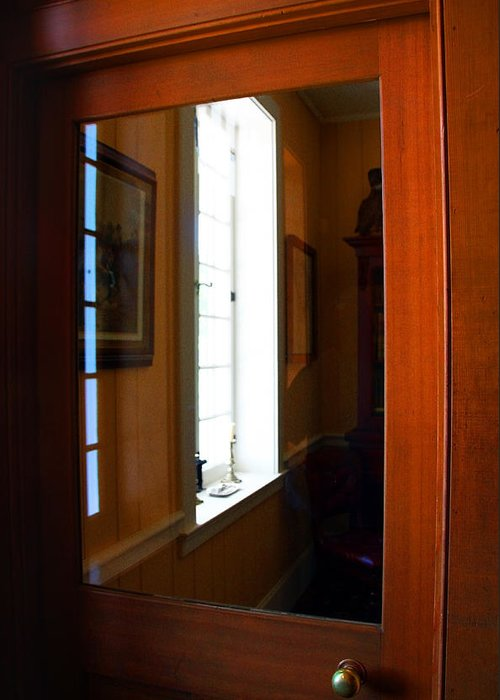 Wood Door Greeting Card featuring the photograph Wood And Glass Door by Joanne Coyle