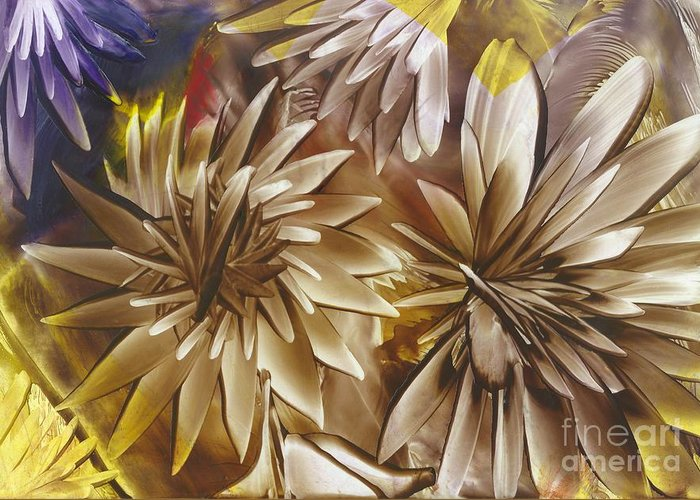 Dahlia Greeting Card featuring the painting Wood Carved Dahlia by Lisa Grogan