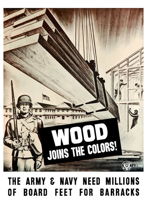 Ww2 Greeting Card featuring the painting Wood Joins The Colors - Ww2 by War Is Hell Store