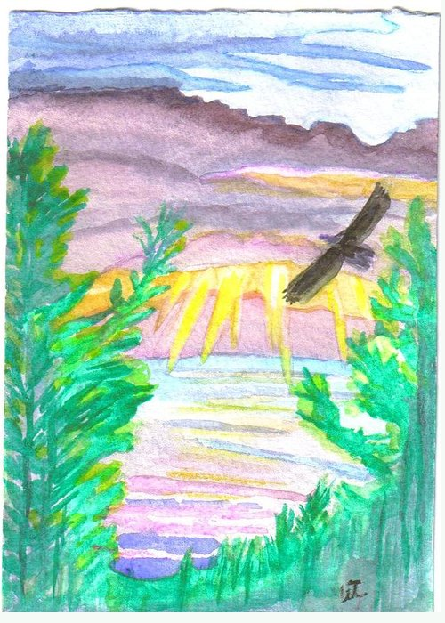 Landscape Greeting Card featuring the painting Wooded Sunset by Warren Thompson