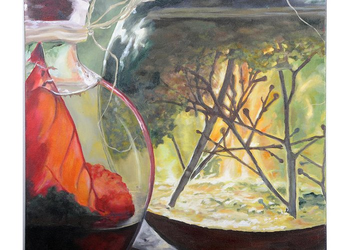 Globe Greeting Card featuring the painting Wooded Terrarium by Lynda McLaughlin