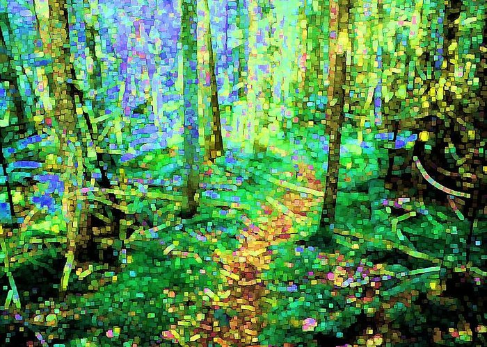 Nature Greeting Card featuring the digital art Wooded Trail by Dave Martsolf