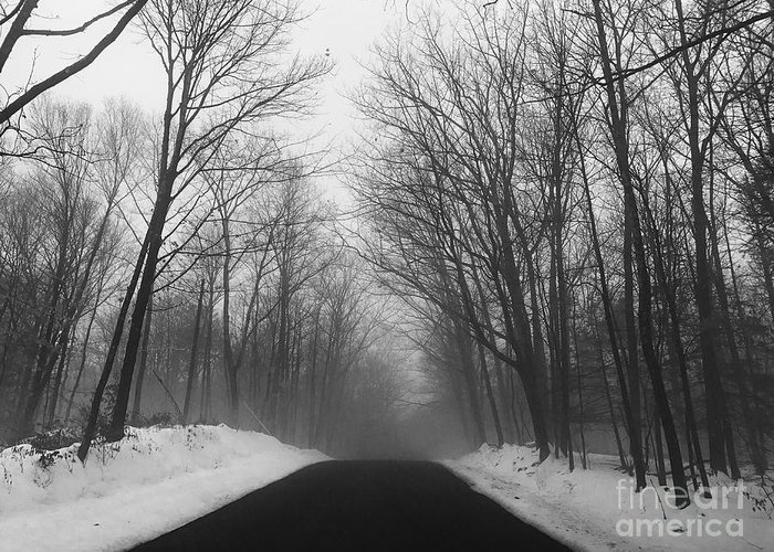 Winter Greeting Card featuring the photograph Wooded Winter Road by John Donnery