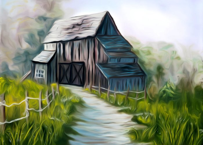 Old Barn Greeting Card featuring the painting Wooden Barn Dreamy Mirage by Claude Beaulac