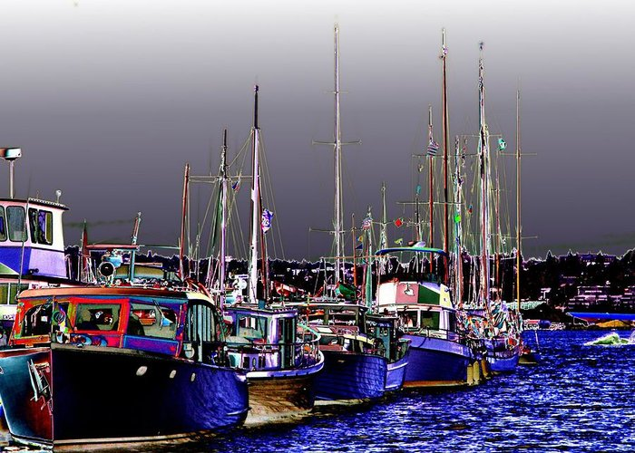 Seattle Greeting Card featuring the digital art Wooden Boats 2 by Tim Allen