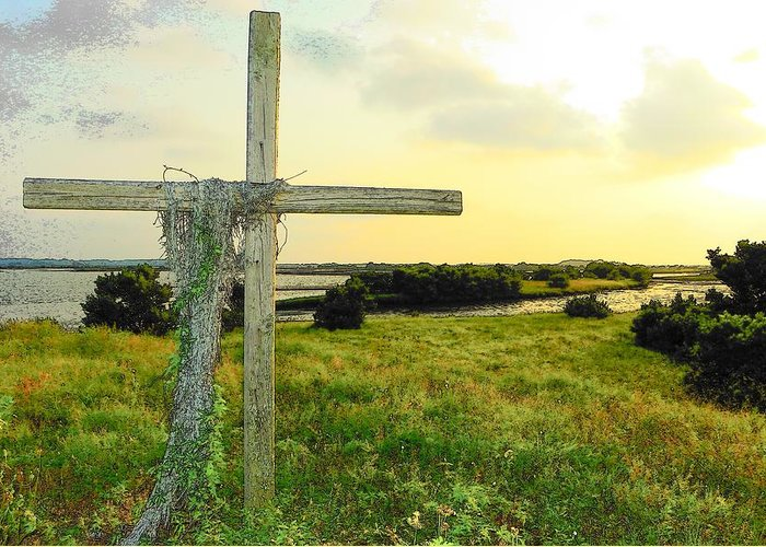 Cedar Key Greeting Card featuring the photograph Wooden Cross 1 by Sheri McLeroy