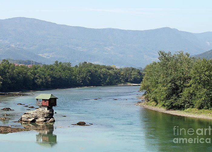 House Greeting Card featuring the photograph wooden house on rock Drina river Serbia by Goce Risteski