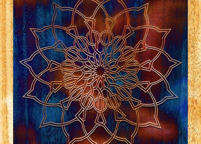 Mandala Greeting Card featuring the drawing Wooden Mandala by Hakon Soreide