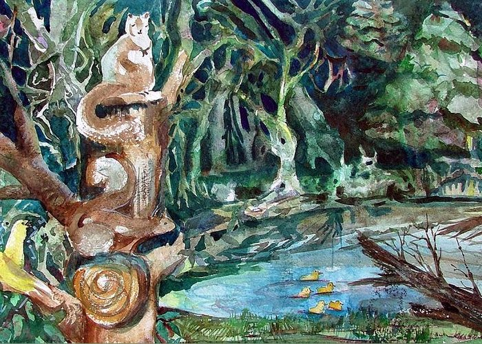 Squirrels Greeting Card featuring the painting Woodland Critters by Mindy Newman