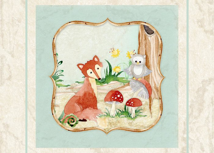 Red Fox Greeting Card featuring the painting Woodland Fairy Tale - Fox Owl Mushroom Forest by Audrey Jeanne Roberts