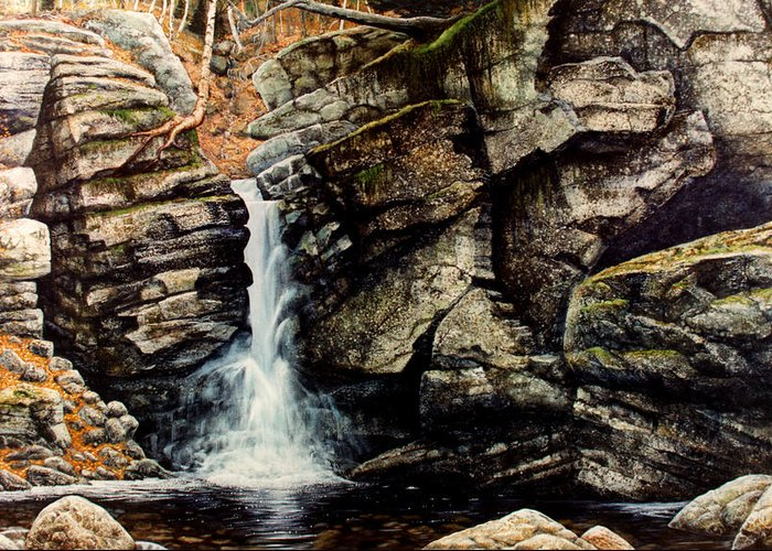 Waterfall Greeting Card featuring the painting Woodland Falls by Frank Wilson