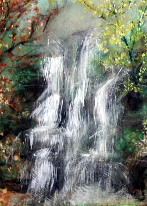 Landscape Greeting Card featuring the painting Woodland Falls by Michela Akers