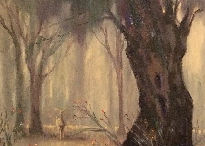 Landscape Greeting Card featuring the painting Woodland Fawn by Ruth Stromswold