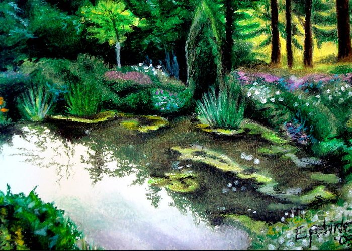Landscape Greeting Card featuring the pastel Woodland Mystery by Elizabeth Robinette Tyndall