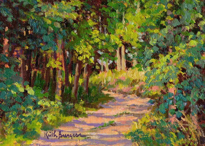 Impressionism Greeting Card featuring the painting Woodland Road by Keith Burgess