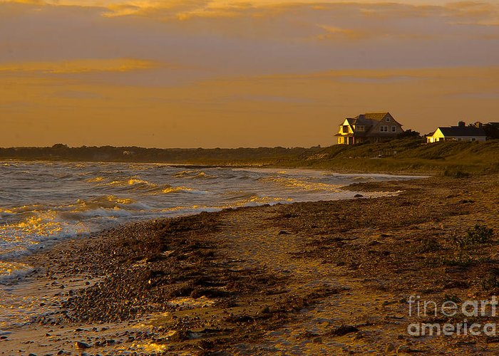 Sea Greeting Card featuring the photograph Woodneck Beach Sunset by Michael Petrizzo