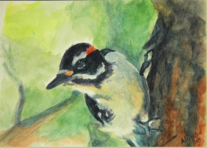 Wildlife Greeting Card featuring the painting Woodpecker by Stephanie Allison