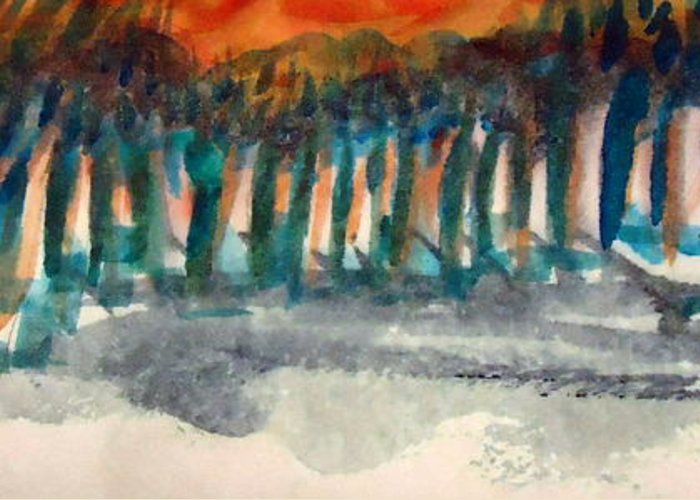 Woods Greeting Card featuring the painting Woodside by Steven Holder