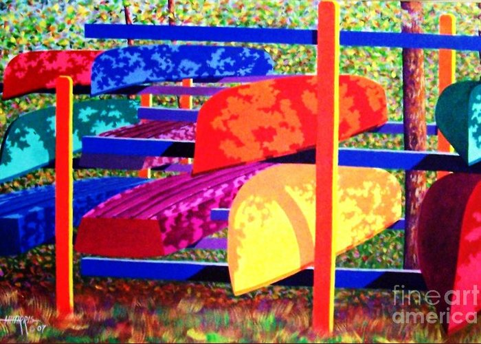 Woods Greeting Card featuring the painting Woodsy Boat Rack by Hugh Harris
