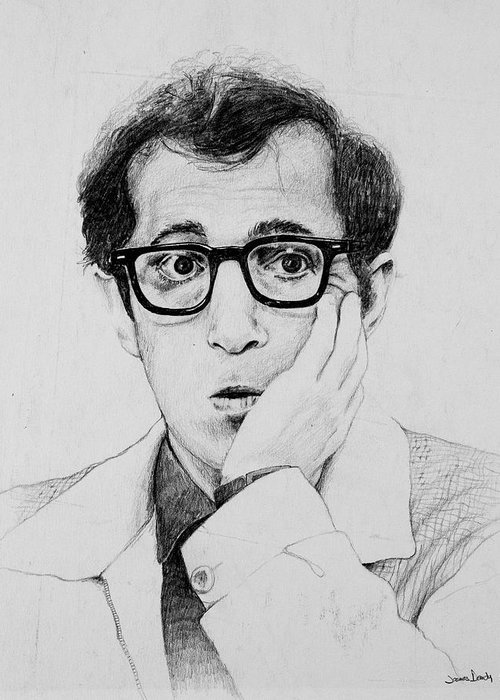 Portrait Greeting Card featuring the drawing Woody Allen by James Deady